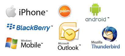 iPhone, Andoid, palm, blackberry, outlook, Mozilla Thunderbird, Windows Mobile